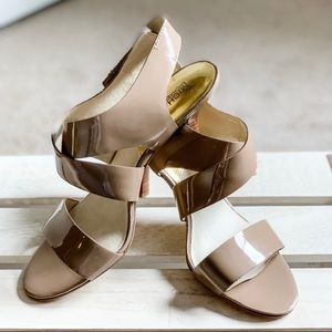 Michael Kors Nude Strappy Patent Leather Heels